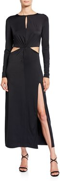 Cassia Long-Sleeve Twist-Front Gown with Cutouts & Slit