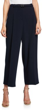 Faye Wide-Leg Belted Crepe Ankle Pants