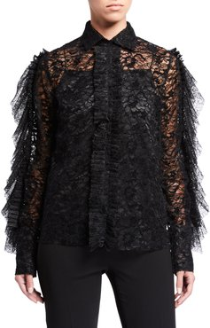 Velvet Lace Shirt with Ruffles