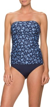 Ruched-Side Floral Bandini Swim Top