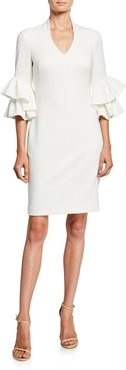 Audra V-Neck Ruffle-Sleeve Sheath Dress