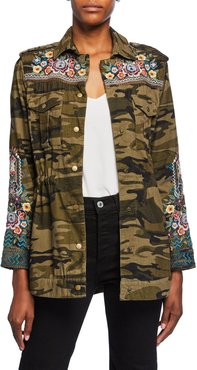 Petite Molly Camo Baby Cord Embroidered Button-Front Jacket