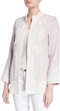 Ceci Embroidered Open-Front Linen Jacket