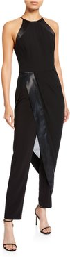 High-Neck Sleeveless Crepe Jumpsuit with Georgette Overlay