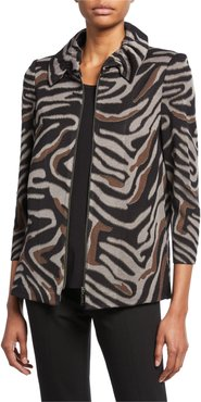 Zip-Front Animal-Print Jacket with Ruched Collar