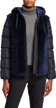 Tizia Mixed Media Lamb Suede & Puffer Coat