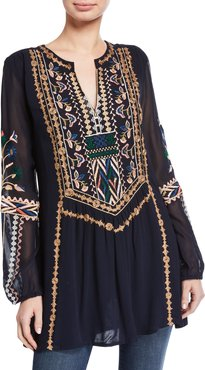 Lauren V-Neck Long-Sleeve Tunic with Floral Embroidery