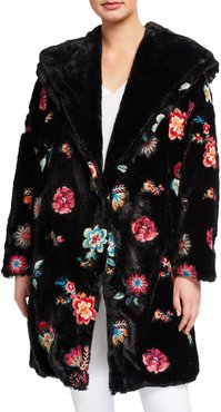 Myanmar Faux-Fur Embroidered Flower Coat