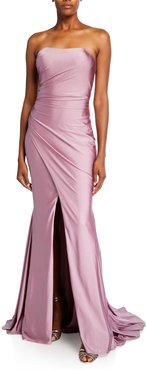 Shirred Bustier Stretch Satin Gown with Slit