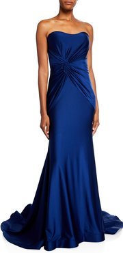 Side-Knot Shirred Strapless Charmeuse Gown