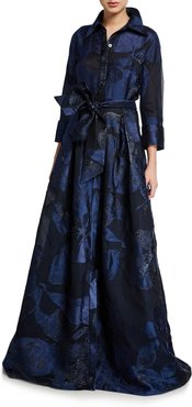 Metallic Silk Burnout Button-Front Belted Gown