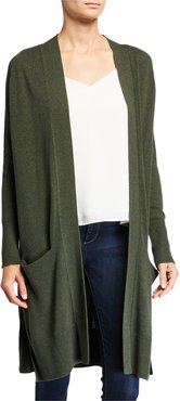 Open-Front Cotton Maxi Cardigan