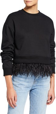 Crewneck Sweatshirt with Ostrich Feather Trim