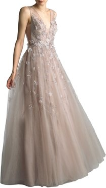 Beaded V-Neck Sleeveless A-Line Gown with 3D Floral Applique