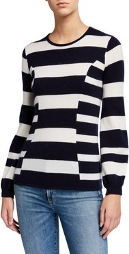Cashmere Multi Stripe Blouson Sleeve Crewneck Sweater