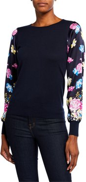 Floral-Sleeve Crewneck Silk-Blend Sweater