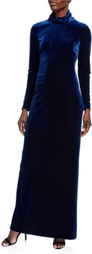 Mock Neck Long Sleeve Velvet Column Gown