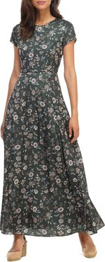 Fan Floral Printed Charmeuse Short-Sleeve Maxi Dress