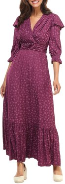 Shadow Posey Jacquard Ruffle-Sleeve Maxi Dress