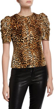 Julia Pouf-Sleeve Leopard-Print Top