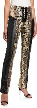 Penelope Snake-Print Panel Faux-Leather Lace Up Pants