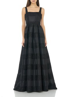 Eyelash Striped Square-Neck Sleeveless Gown with Inverted Pleats