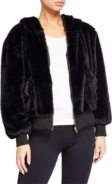 Fuzzy Faux-Fur Hooded Teddy Jacket