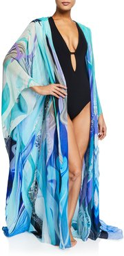 Oversized Silk Chiffon Robe