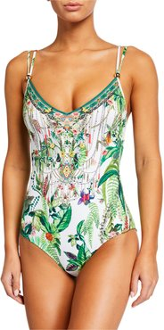 Tie Back One-Piece Swimsuit with Trim