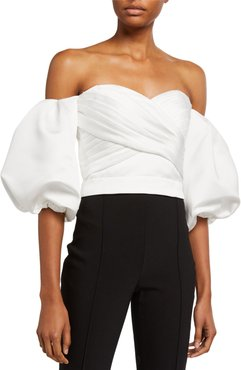 Off-the-Shoulder Balloon-Sleeve Prince Duchess Satin Crop Top