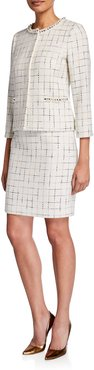 Two Piece Metallic Check Tweed Skirt Suit w/ Pearlescent Trim