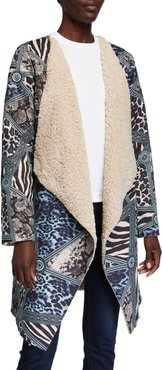 Animal Print Faux Shearling Easy Jacket