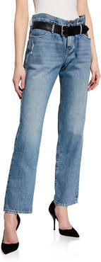 Dexter Straight-Leg Jeans with Leather Belt
