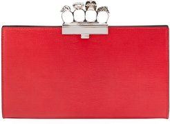 Four-Ring Snake-print Leather Clutch Bag