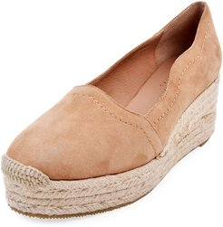 Reese Scalloped Suede Espadrilles, Beige