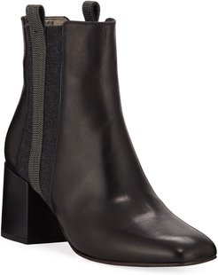 Leather & Cashmere Monili Booties