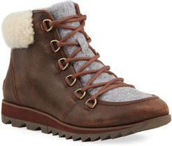 Harlow Shearling-Trim Leather Hiking Boots