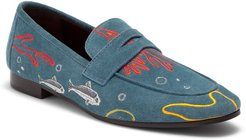 Embroidered Abyss Sardines Suede Loafers