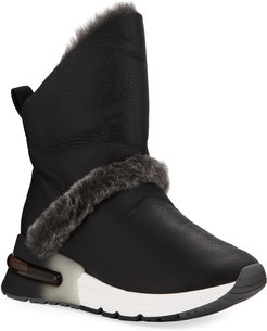Kilma Napa Leather Sneakers w/ Shearling Trim