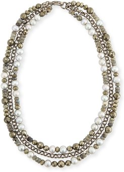 Brie Three-Strand Beaded Necklace