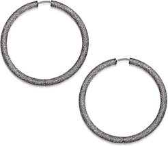 18k Black Gold Florentine Large Hoop Earrings