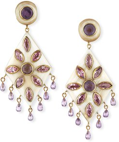 Ibada Horn & Amethyst Drop Earrings, Light