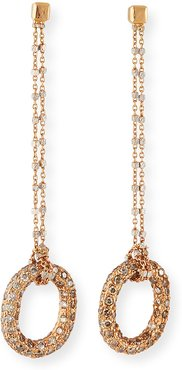 Florentine 18k Pink Gold Diamond Link-Drop Earrings