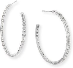 Medium Hoop Earrings w/ Pave Diamonds