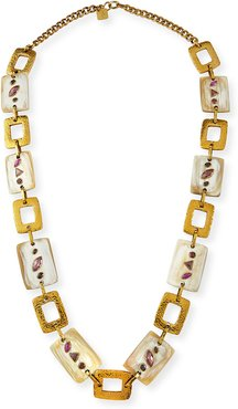 Bustani Light Horn & Red Stone Necklace