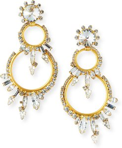 Harris Graduated-Hoop Crystal Earrings