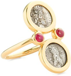 18k Kings of Persis 2-Coin Shield Ring, Size 6