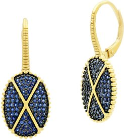 Oval Pave Lever Back Earrings