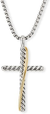 Crossover Cross Necklace w/ 18k Gold