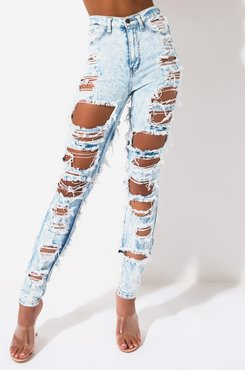 AKIRA Set It Off Acid Destroyed Skinny Denim Pants